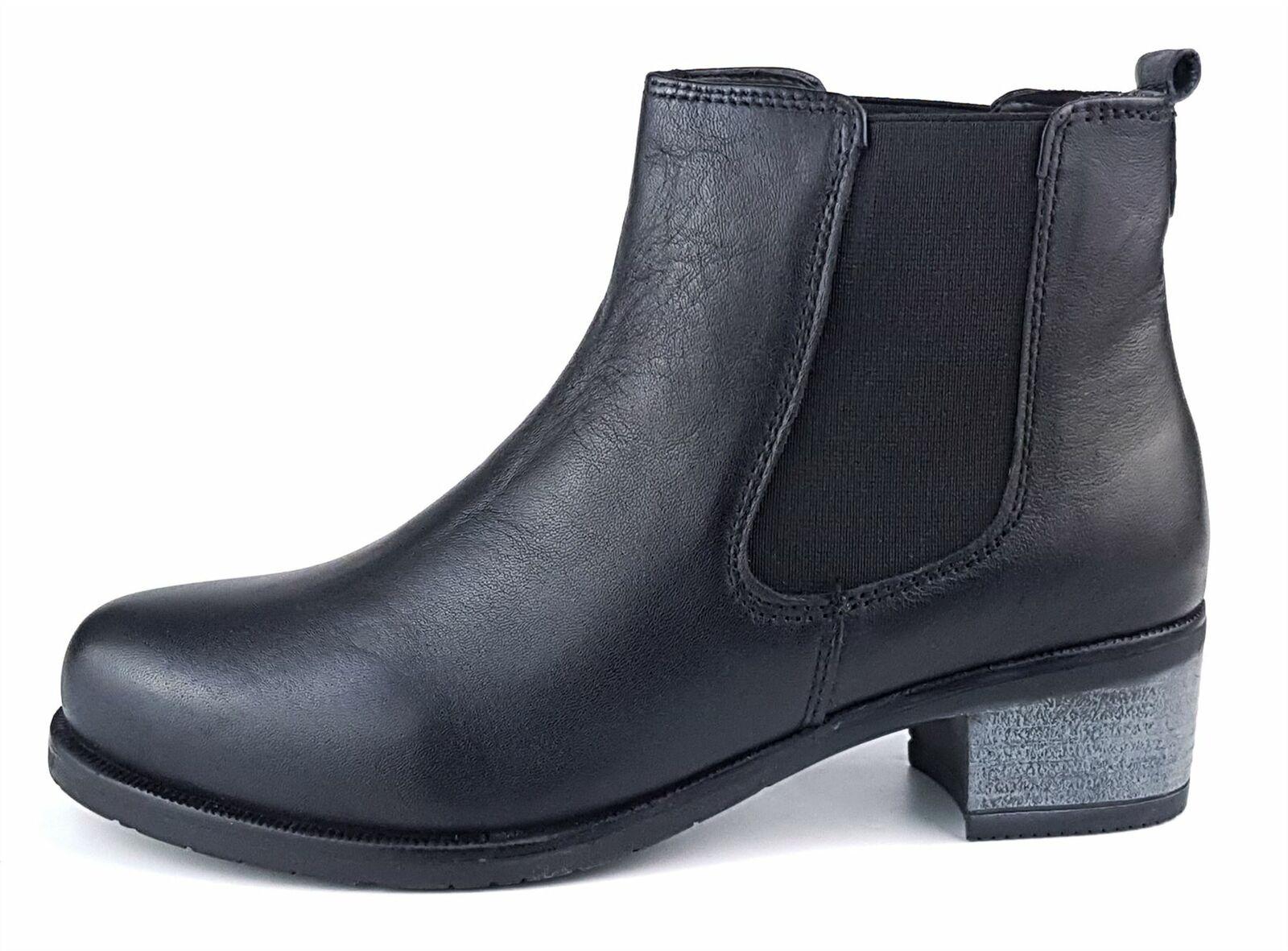 Frank James Towcester Ladies Womans Black Leather Chelsea Pull Ankle Heel Boots 1