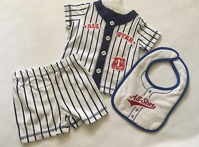 3/6 Months Boys 3 Piece Baseball Outfit Shorts Set Bibb All Stars Fisher Price