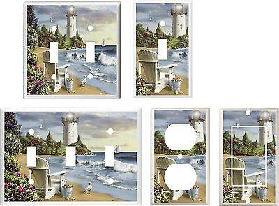 Beach Chair Decorations (LIGHTHOUSE BEACH CHAIR SEAGULLS SEA SHELLS  LIGHT SWITCH COVER PLATE HOME)