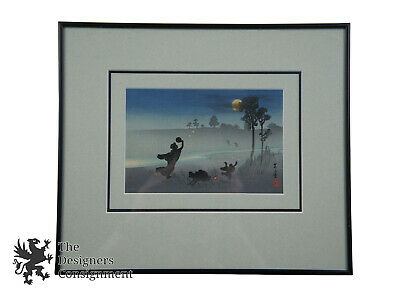 Vtg Asian Watercolor on Paper Landscape Painting Catching Fireflies Lightning](Catch Fireflies)