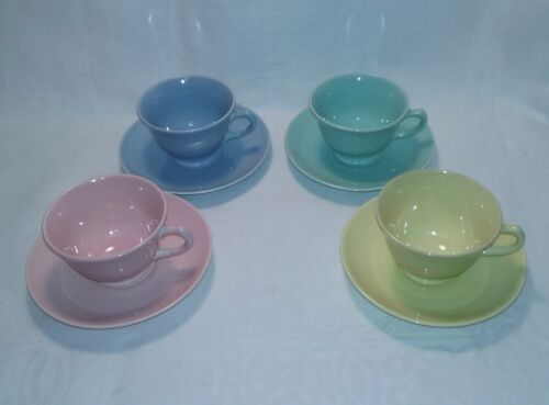 4 Sets TS&T LuRay Cups & Saucers Four Colors Yellow, Blue, Pink, Green EUC