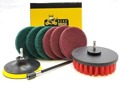 9 Pc Drill Brush and Scouring Pads Set For Tile and Carpet, Auto, Appliances