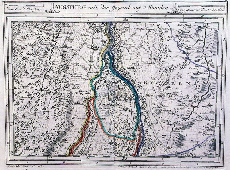 Antique map, Augspurg