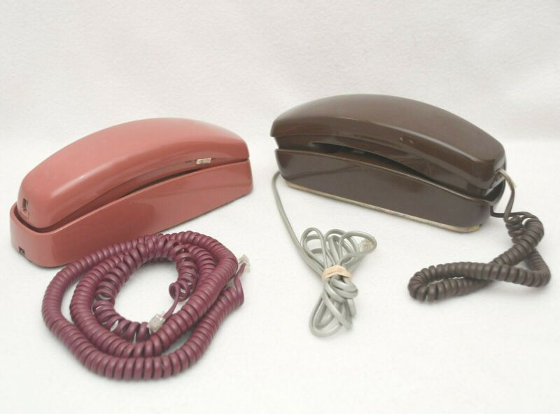 2 PRINCESS Trimline Style Telephones: AT&T 210 Desk/Wall Mauve & Unbranded Brown