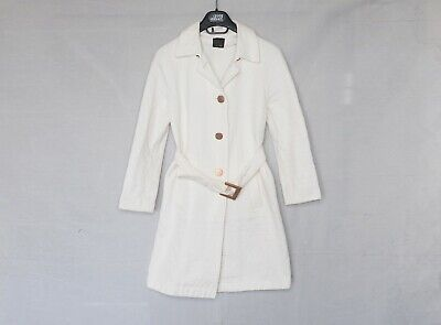 FENDI white long coat ladies jacket tailor fit belt zucca monogram 40 S for sale  Shipping to India