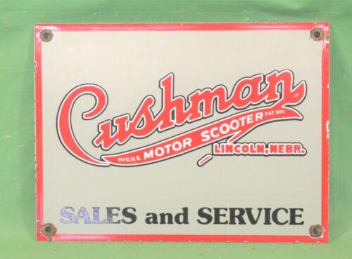 Vintage Cushman Motor Scooter Sales & Service Porcelain Advertising Sign