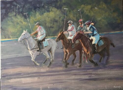 """Sean Wu original oil painting polo match, 18x24"""" on stretched canvas"""