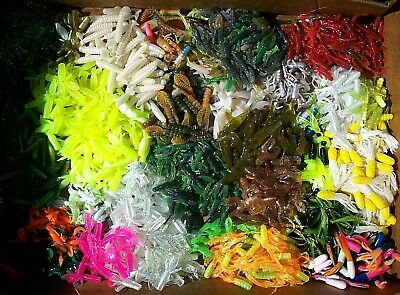 """100pc PANFISH ASSORTMENT 1"""" to 2"""" SOFT PLASTIC BAITS Crappie Fishing Lures Trout"""