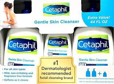 Cetaphil Gentle Skin Facial Cleanser Fragrance-Free Extra Value, 44, 20, 4 Fl Oz