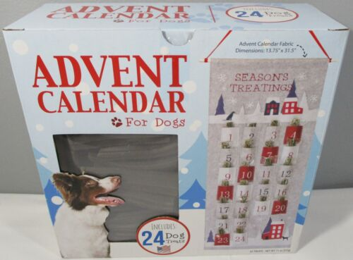 New Fabric Advent Calendar for Dogs with 24 Treats in reusable bags! Made in USA