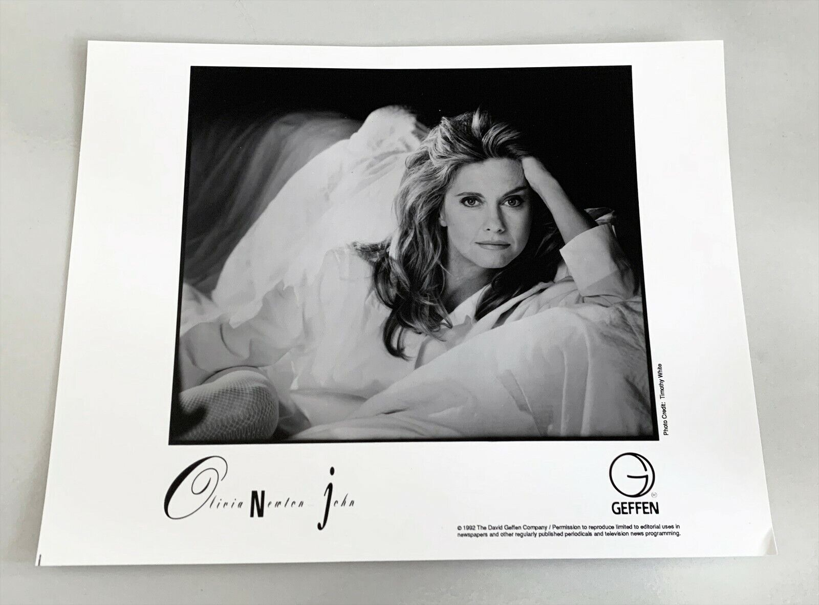 OLIVIA NEWTON JOHN 1992 Press PHOTO 8x10 GEFFEN RECORDS BIO/PUBLICITY Grease - $12.79