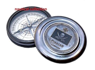 """Pirates of Caribbean Jack Sparrow 3"""" Pocket Antique Brass Compass for sale  Shipping to United States"""