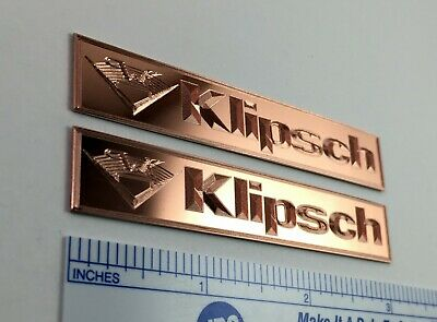Custom engraved SOLID COPPER Klipsch speaker badge logo emblem pair](Couple Customs)