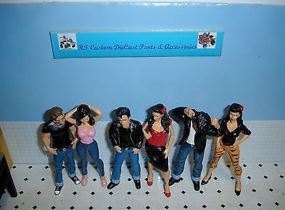 1/18- Set of 6 Greezerz -Figures- 3 males,3 females for your shop/diorama/garage