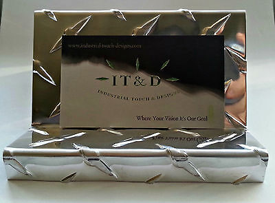 Diamond Plate Business Card Holder Display Desktop Stand Aluminum Desk