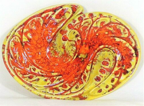 VTG Retro Ashtray Yellow Orange Red Footed