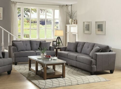 Charcoal Gray Linen Like Sofa Love Seat Living Room Furniture Set