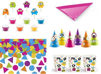 SiDeSo® Partygeschirr Monster Teller Popcorn Konfetti Muffin Geburtstag Deko ()