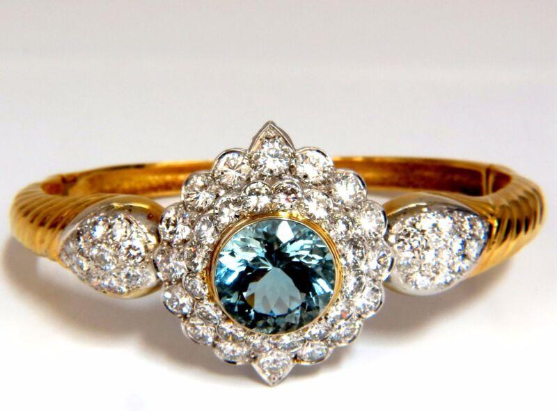 Aquamarine Diamonds Bangle Bracelet 18kt 15.50ct  Natural Italian Cluster
