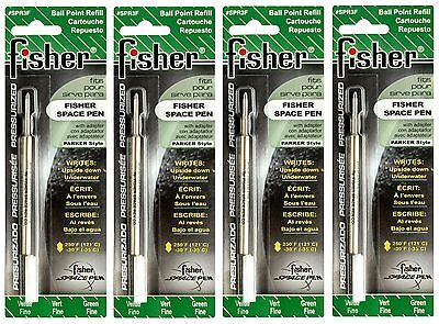 FOUR (4) Fisher Space Pen SPR Series Green Ink / Fine Point Refills #SPR3F Fisher Space Pen Fine Point