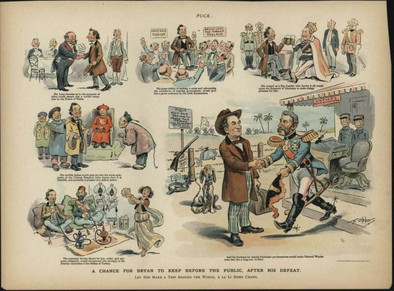 William Jennings Bryan Cartoon Racism Stereotypes 1896 color lithograph print
