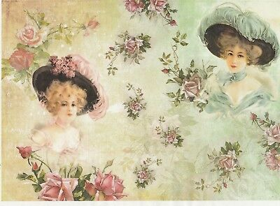 - Rice Paper for Decoupage Decopatch Scrapbook Craft Sheet Pink and Green Friends