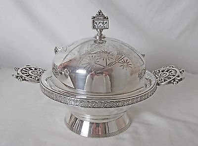 1800'S MERIDEN SILVER PLATED BUTTER DISH REED & BARTON KNIFE STRIKING PIECE