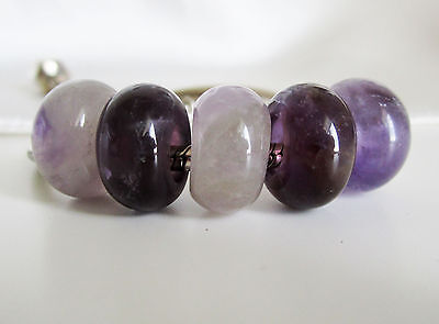 2nds - Natural PURPLE AMETHYST Stone Abacus CHARM BEAD For European BRACELET