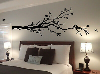 Extra Large Tree Branch Wall Decal Deco Art Sticker Mural with 10 Birds  ()