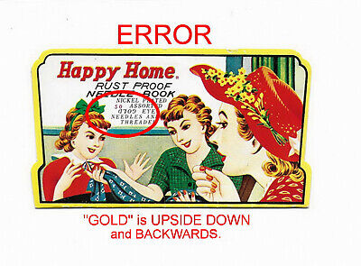 ERROR on cover 1950s HAPPY HOME NEEDLE BOOK Needles & Threader Art #541 Japan