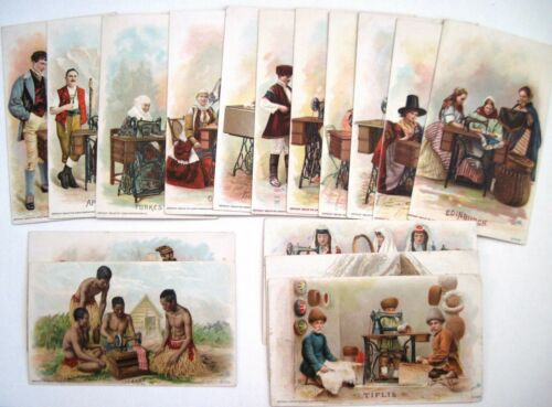 "Set of (16) 1894 Victorian Trade Cards ""Singer Sewing Machine"" Many Countries *"