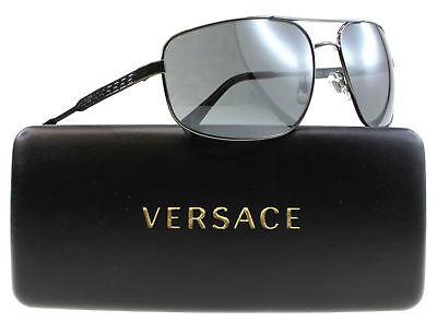 New VERSACE Sunglasses VE2158 1316/6G Gunmetal Aviator Frame w/Grey Lens Mirror