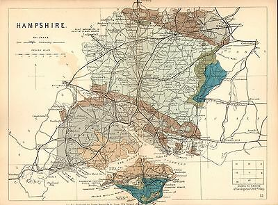 1889 HAND COLOURED GEOLOGICAL MAP ~ HAMPSHIRE RAILWAYS REPTILIAN REMAINS WIGHT