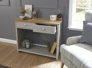Grey Oak Console Table 2 Drawer Telephone Table D Cup Metal Handles Lancaster