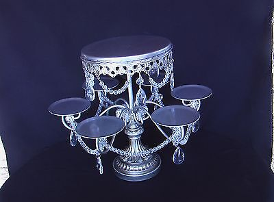 Antique Silver Look Clear Crystal Prism Cake Cupcake Pastry Stand Wedding Party