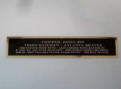 Chipper Jones Braves Nameplate For An Autographed Baseball Jersey Case 1.25 X 6