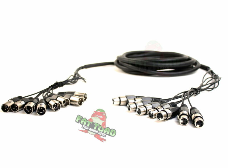 FAT TOAD 8 Channel XLR Snake Cable Patch -10Ft Recording Studio PA DJ Microphone