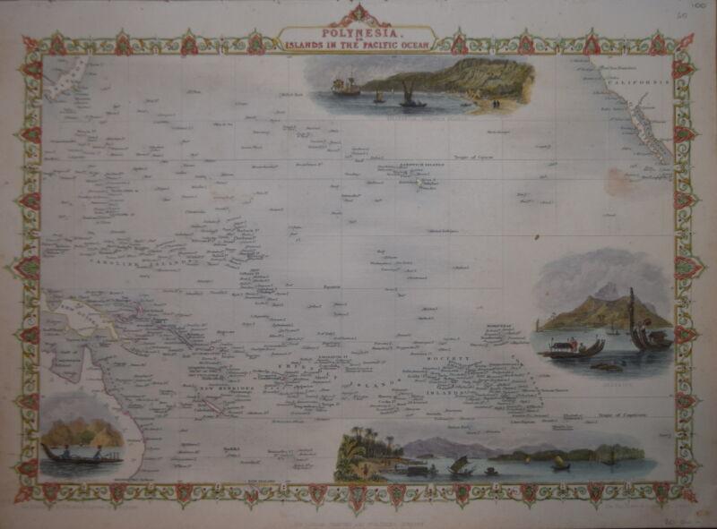 POLYNESIA OR ISLANDS IN THE PACIFIC OCEAN BY JOHN TALLIS 1850.