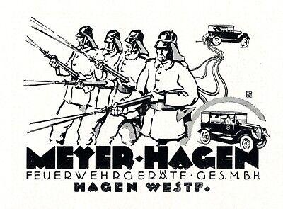 Feuerwehrgeräte Meyer in Hagen Reklame 1925 Feuerwehr Werbung Feuerwehrauto
