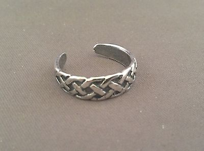 Braid toe ring genuine .925 sterling silver one size