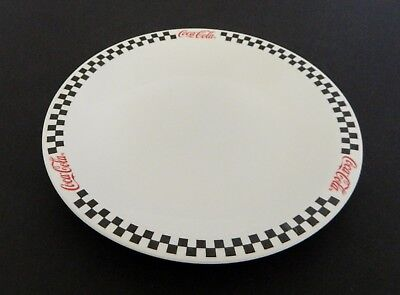 Black Rimmed Dinner Plate - Coca Cola Brand Dinner Plate by Gibson China Black Checker Board Red Rim