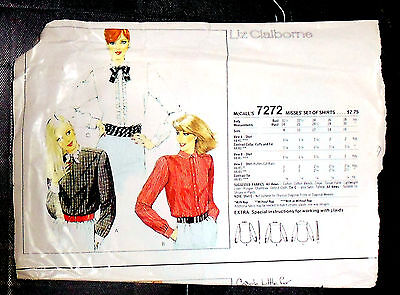 New! Vintage McCall's 7272 Misses Shirts.  Sz 16
