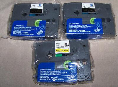 2 Gold On Black Tz-334 Tze-334 12mm Tape For Brother P-touch Label Maker Bonus