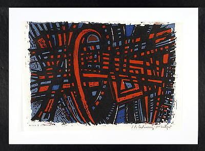 Karl Willy Heyer / Mehrfarben - Linolschnitt / Grafik, handsigniert / um1950