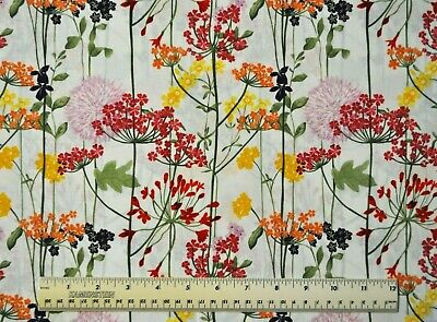 By the 1/2 yard 100% cotton quilt fabric Floral Border Garden flowers plants sew Garden Cotton Quilt Fabric Border