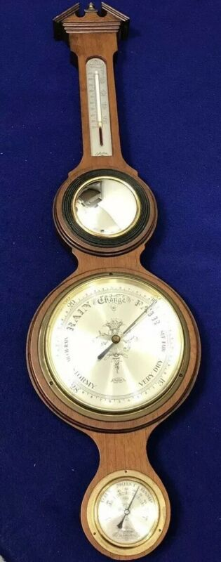 Salem-Made in England. Solid Mahogany, Barometer, Thermometer, Relative Humidity