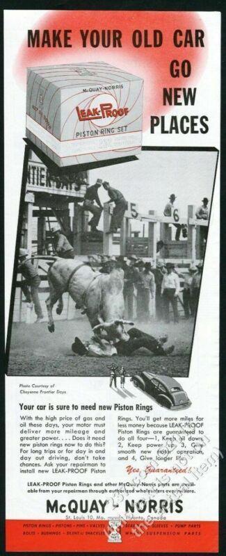 1949 brahma bull cowboy Cheyenne Frontier Days rodeo photo McQuay-Norris ad