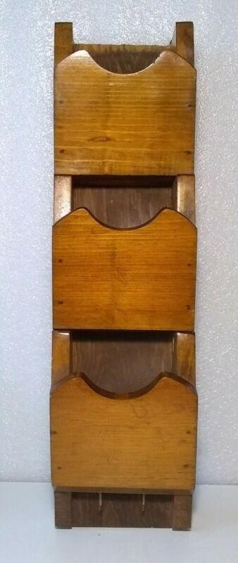 Vtg Handcrafted 3 Tier Wooden Wall Organizer Letter Mail Bill Misc. Key Holder