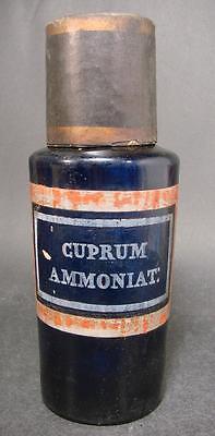 Apothekenflasche CUPRUM AMMONIAT:, Frankreich 19. Jh. Kobaltblaues Glas.