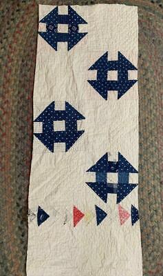 Antique Indigo Blue Calico Churn Dash Cutter Quilt Piece 14